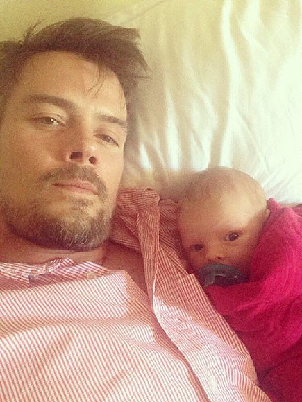 Josh Duhamel cuddles with little Axl. Gosh, sooo sweet!