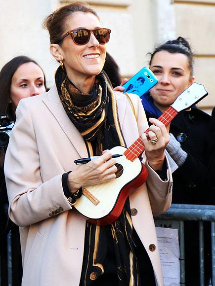 Celine Dion Plays a Ukelele in Paris!