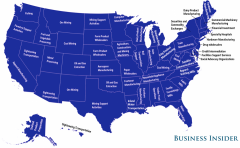 Which industries have the most disproportionate number of employees in each state? Check out this neat map here!: