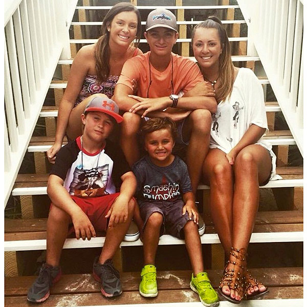 Luke Bryan and Caroline's children and nephew From Top left: Kris, Til, Jordan, Tate and Bo
