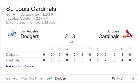 Cardinals win nlds box score