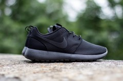 "Nike Sportswear's fan-favorite Roshe Run gets a tried-and-true black-on-black makeover with the introduction of the ""Triple Black"""