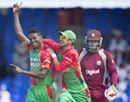Bangladesh seamer Al-Amin Hossain has been reported for a suspect action following his team's ten-wicket loss to West Indies