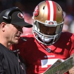 Check the most recent video with Colin Kaepernick about Harbaugh`s return in 2015. . .