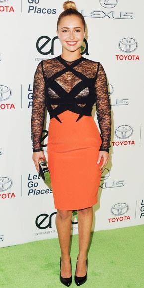 Hayden Panettiere rocks the black and orange look. Fashion hit or miss?!