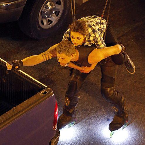 Mila Kunis and Channing Tatum film a scene for 'Jupiter Ascending.' Fans, caption this snapshot!