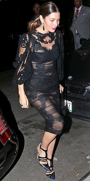 Jessica Biel aka Mrs. Justin Timberlake goes sheer. Fashion win or fail?