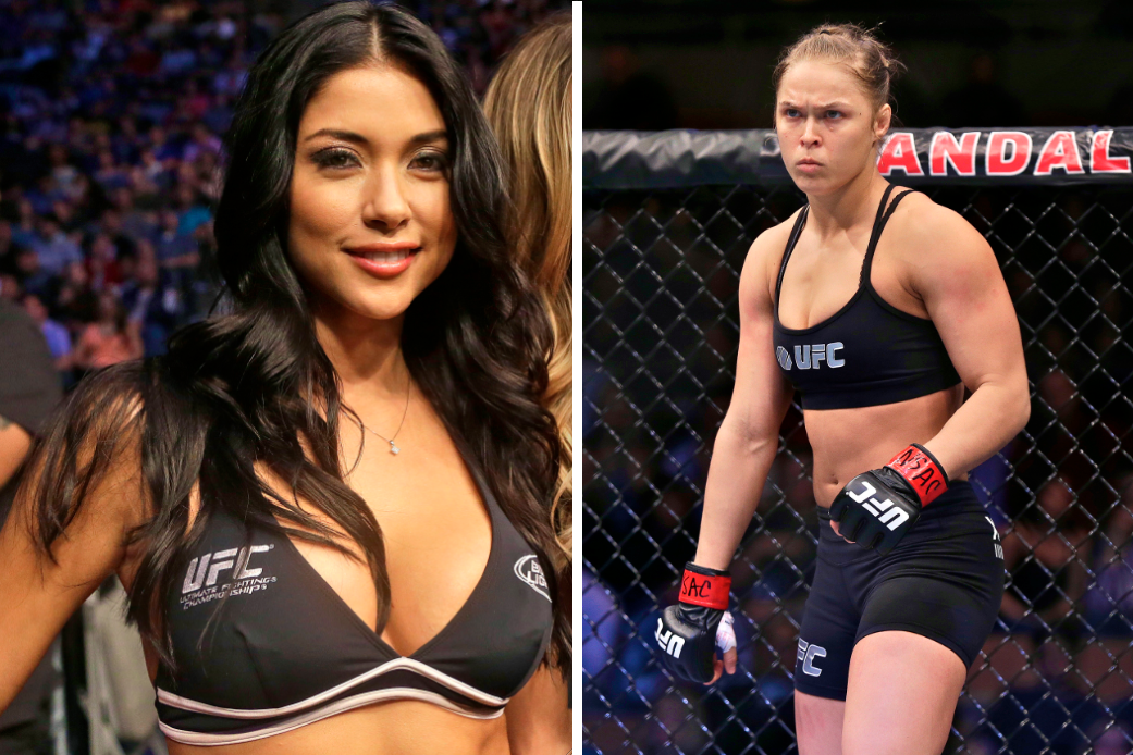 The UFC Octagon Girl hurled several verbal jabs in Rousey's direction on Friday during an appearance on MMAjunkie Radio. Celeste
