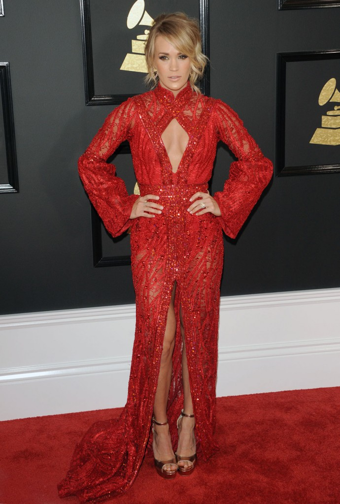 carrie underwood, 2017 grammy awards red carpet