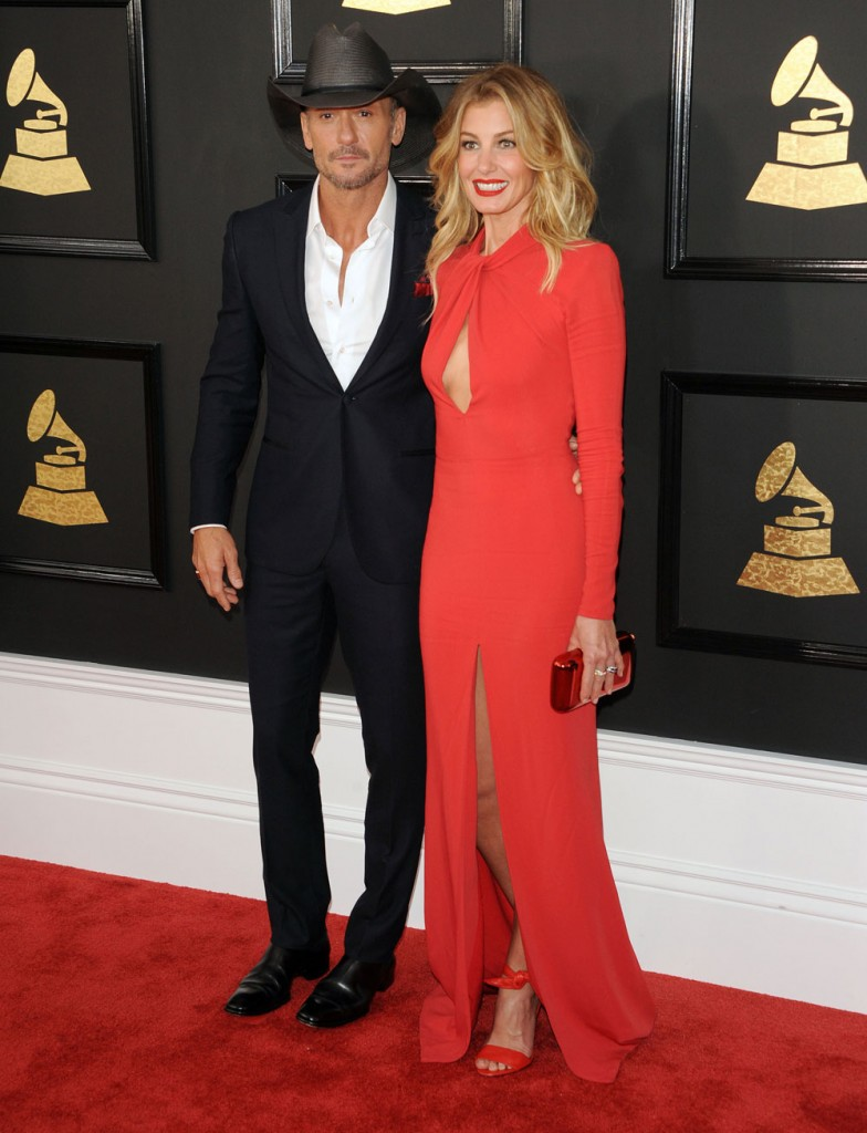 faith hill time mcgraw, 2017 grammy awards red carpet