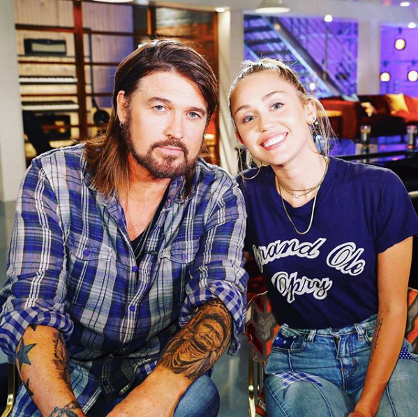 Miley and Billy Ray Cyrys