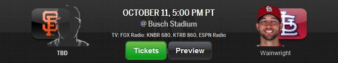 SF Giants NLCS Schedule – 2014